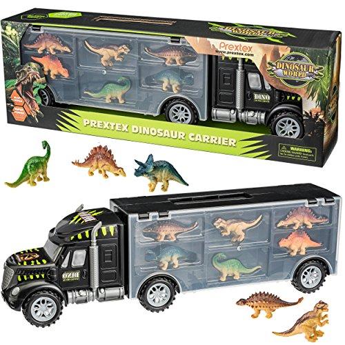 Prextex 16 Tractor Trailer Dinosaur Carrier STEM Dinosaur Toys with 6 Mini Plastic Dinosaurs