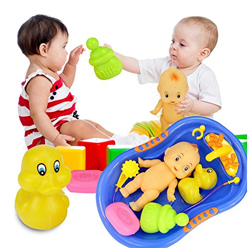 Interesting Baby Doll Shower Accessories Set in Bathtime Water Sprayer Colorful kids Play Toys Baby Loved with Baby Boll Ducky Milk Bottle and Soap7 pcsfor More Than 3 Months Children