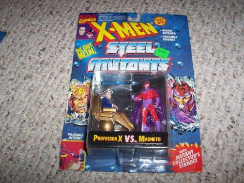 3 Die Cast Professor X VS Magneto Action Figures - Marvel Comics X-Men Steel Mutants with Mutant Collectors Card