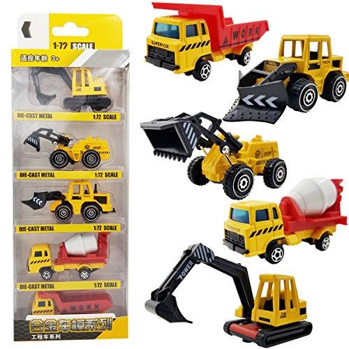 M-jump 5 PCS Mini 172 Scale DIE-CAST Metal Construction Engineering Vehicle Toys Set for kids - Excavating trucks Bulldozers Truckshovel Clay truck Dump trucks