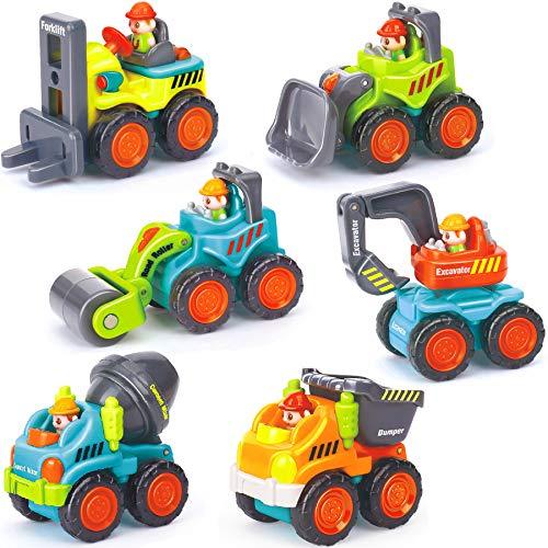Zenteck 6-Piece Sturdy Construction Vehicles Car Toy Set BPA-Free Rounded-EdgesBasic Sensory Fine Motor Life SkillsManeuverable RealisticGift Toy for 1 2 3 Years Old Boys Girls