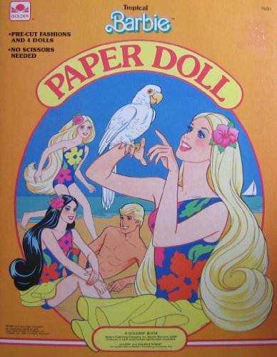 Tropical BARBIE Paper Doll Book w Barbie Ken Miko Skipper Dolls Pre-Cut Fashions 1986 Golden