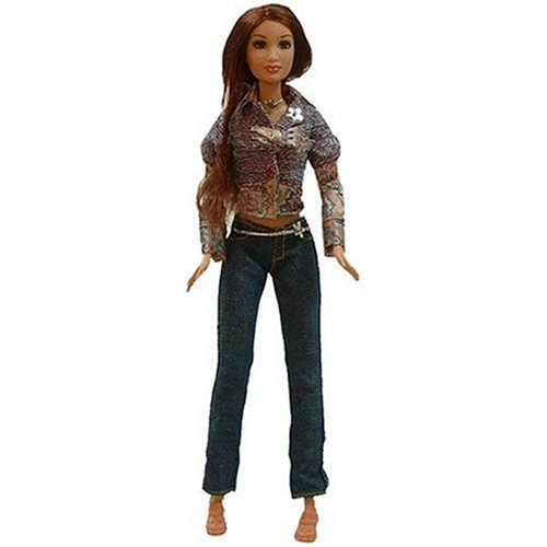 Barbie Fashion Fever Doll Gillian in Long Sleeve Floral Shirt with a Blue Red Sweater and Blue Jeans