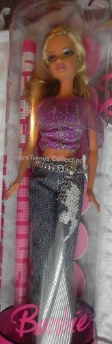 J1326 Purple Shirt Blue Jeans and Silver Belt Barbie Fashion Fever Doll - 1