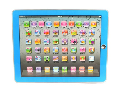 Y-Pad English Childrens Toy Computer Tablet w 4 Modes Volume and OnOff Buttons Learn Play Lights Sounds Blue