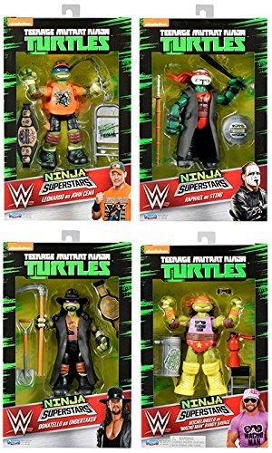 TMNT  WWE Ninja Superstars Complete Set of 4 - WWE Teenage Mutant Ninja Turtles Ninja Superstar Playmates Toy Wrestling Action Figures