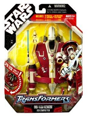 Star Wars 30th Anniversary Saga 2008 Transformers Action Figure Obi-Wan Kenobi to Jedi Starfighter Red White