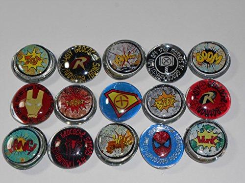 Geocache Glass Trading Stones - Comic Book Heros Super Heros  BIFF BAM ZONK BOOM