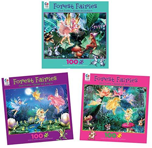 Ceaco 100 Piece Forest Fairies Kids Puzzle Set 3 Colorful 100 Piece Fairy Puzzles