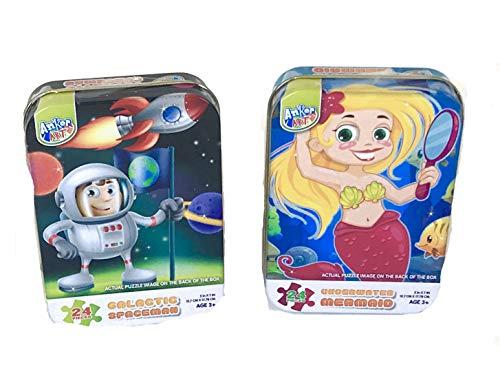 Mini Puzzle TIN ASST Construction Fairy2 Designs 24 Pieces1 Case