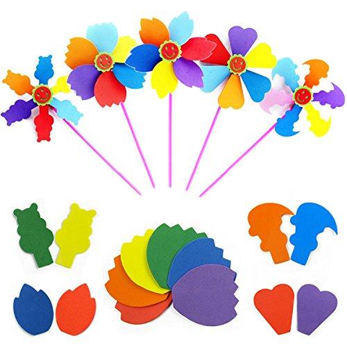 BeautyMood 5pcs DIY Kits Homemade beautiful colorful windmills Child Educational Jigsaw Puzzle Toy 5 PC assortment