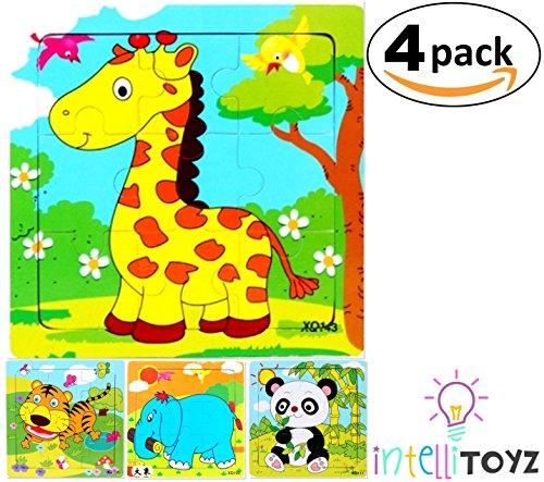 INTELLITOYZ Set of 4 9 Piece Colorful Wooden Zoo Animals Educational Jigsaw Puzzles Includes Giraffe Elephant Tiger Panda