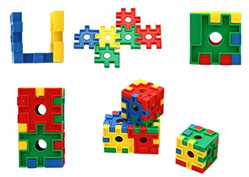 JingQ JQ1027 Plastic Colorful Cube Blocks Construction Assembling Toy DIY Puzzle Block Set Educational Jigsaw Gift for Baby Children Kids