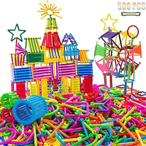 Bravet 500Pcs Kid Plastic Rod Building Blocks Children Educational Puzzle Toy Architecture Kits