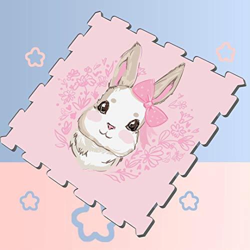 Cute Design Cartoon Snow White Rabbit Bunny Puzzle Mats for Exercise Foam Play Puzzle Mat Soft Protection Mats,16 Tiles 12x12 Foam Floor Puzzle Mat