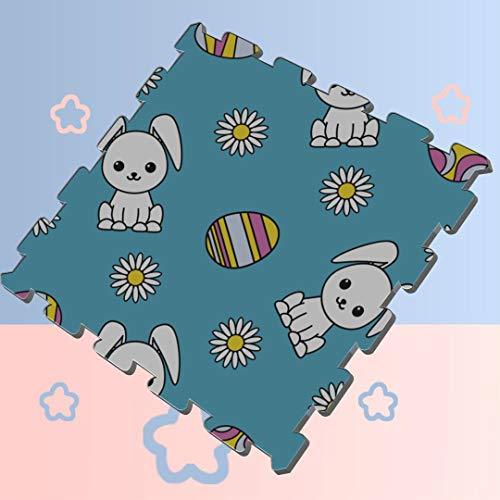 Floral Flower Rabbit Bunny Puzzle Floor Play Mat Baby Play Mat Kids Puzzle Soft Protection Mats,16 Tiles 12x12 Foam Mat Interlocking Tiles