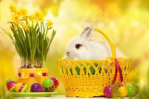 PigBangbangHandmade Intellectiv Games Photomosaic Jigsaw Puzzle Box Basswood 295 X 196Colorful Cartoon 1000 Piece Mural Home Decoration-Happy Easter Bunny