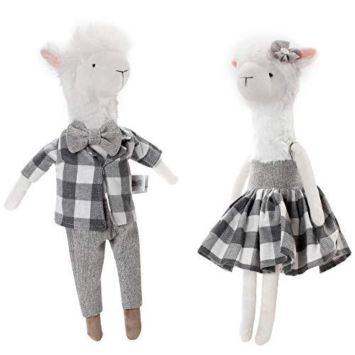 CSH Llama PlushCute Llama Stuffed Animal2 pcs 15 inches Alpaca Stuffed AnimalsLlama Doll Toy with ClothingAnimal FigurinesValentines Day Birthday Christmas Wedding Anniversary Presents Gifts