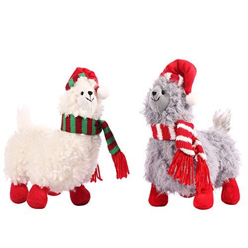 CSH Llama Stuffed AnimalCute Llama Plush Toy11 inches Alpaca Stuffed AnimalsLlama GiftsAlpaca Plush Wearing Winter Scarf and Christmas hatGreat Gifts for Baby ShowersBirthdaysChristmas2 pcs