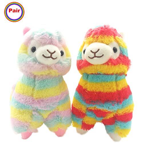 Pablo The Rainbow Llamas- Cute Alpaca Stuffed Animal -Fuzzy Plush Mini Lamb Toys  Soft Gift for Little Baby Kids or Party Favor   9 inch  2 Pcs