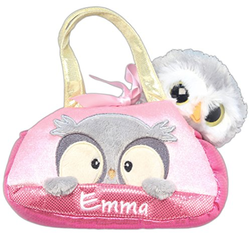 Personalized Embroidered Aurora Purse Peek-A-Boo Owl Stuffed Animal Set