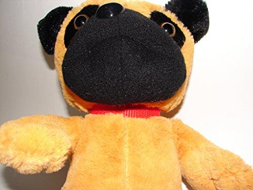 Brown Black PLUSH BULLDOG Stuffed Animal Toy Dog 16 Soft Puppy with Red Collar