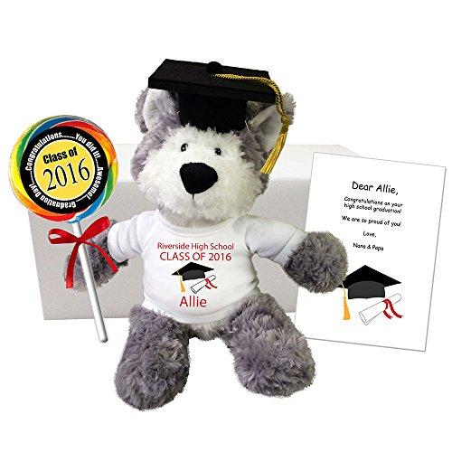 Graduation Wolf Gift Set - 11 Personalized Stuffed Wolf Class of 2016 Grad Gift