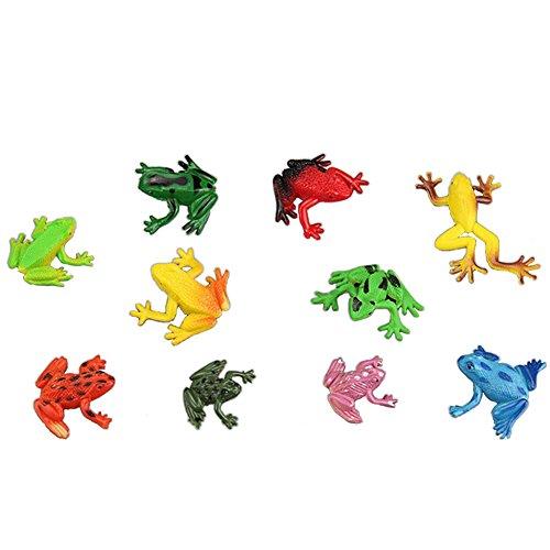 Lanlan 10 Pcs Pvc Plastic Animal Figures Mini Cute Frogs Toy Kids Educational Toy
