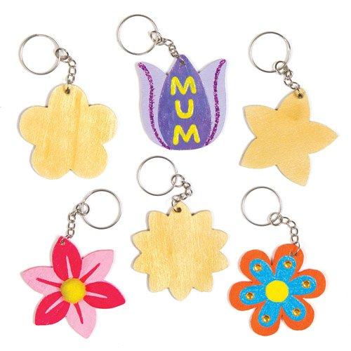 Flower Wooden Keyring Bag Dangler Kits for Children to Make and Decorate - Creative Spring Craft Set Pack of 8
