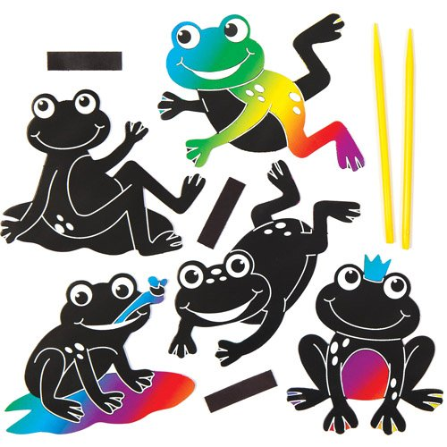 Funky Frog Scratch Art Fridge Magnets for Children to Design Make and Display - Creative Spring Craft Set for Kids Pack of 10