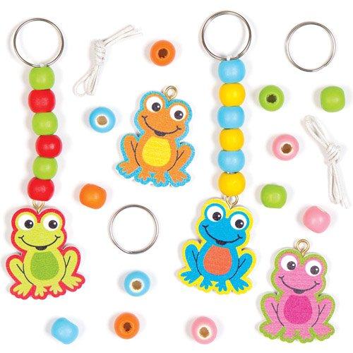 Funny Frog Keyring Bag Dangler Kits for Children to Decorate - Make Your Own Creative Spring Craft Set Pack of 4