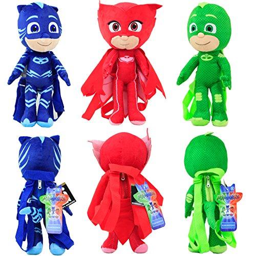 Disney 14 PJ Masks Stuffed Animals Backpack Plush Doll 3Pcs Set Blue Red Green