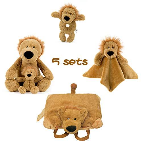 FRANKIEZHOU Stuffed Lion Animal Plush Toys 14Soft Ring RattleBaby BlanketStuffed Animal Backpack Plush Pillow -Buy 1 Get 5 for Baby Kids on Christmas