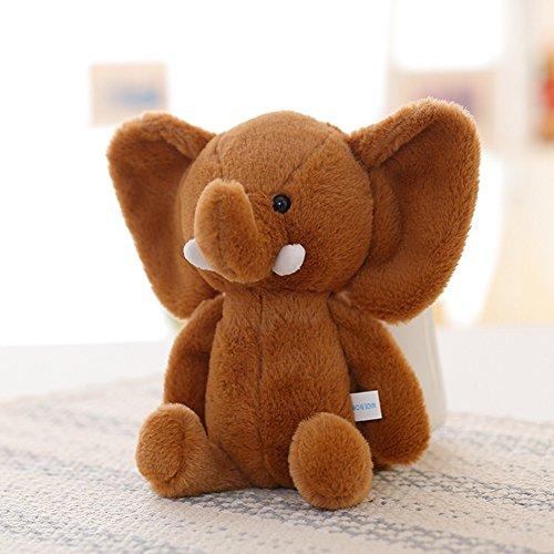 Lanlan 1PCS Soft Cute Cartoon Stuffed Animals Toy Plush Toy for Kids Birthday Christmas Gift Dark Brown Elephant 10 Inch Plush Interactive Toys Accessories