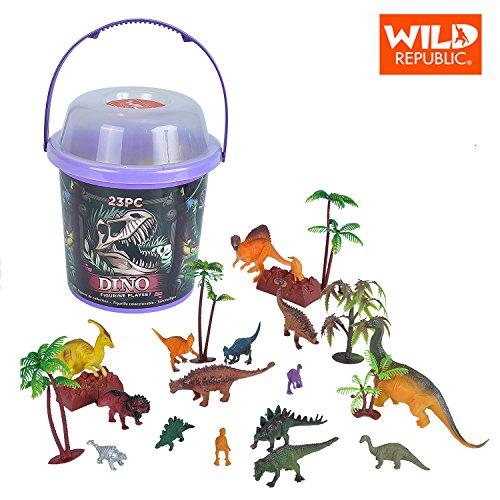Wild Republic Dinosaur Bucket Dinosaur Animal Figurines Set T Rex Triceratops Velociraptor Spinosaurus Stegosaurus More 23 Piece Set