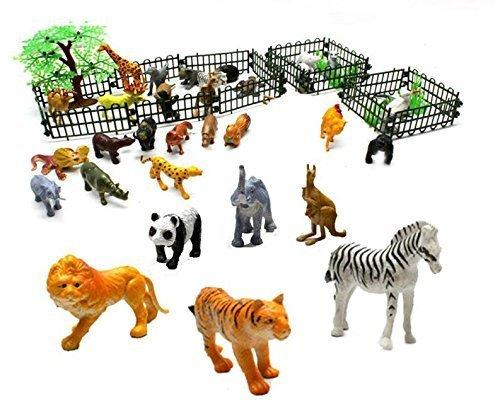 Generic Rain Forest Jungle Animals Figurines Farm Animal Toys safari animal figures -Assorted 32 pcs animals n trees n fence-2 Inch
