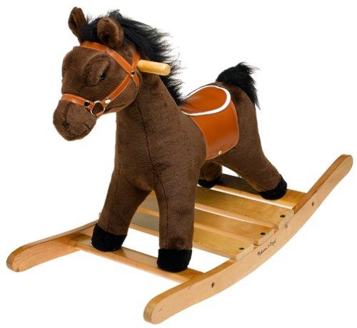 Melissa Doug Plush Rocking Horse - Wooden Base and Handles Plus Saddle and Harness