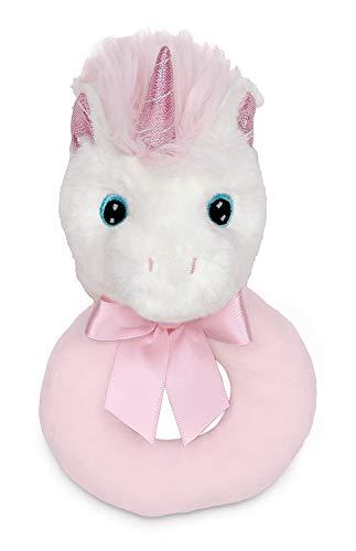 Bearington Baby Dreamer Plush Stuffed Animal Unicorn Soft Ring Rattle 55 in