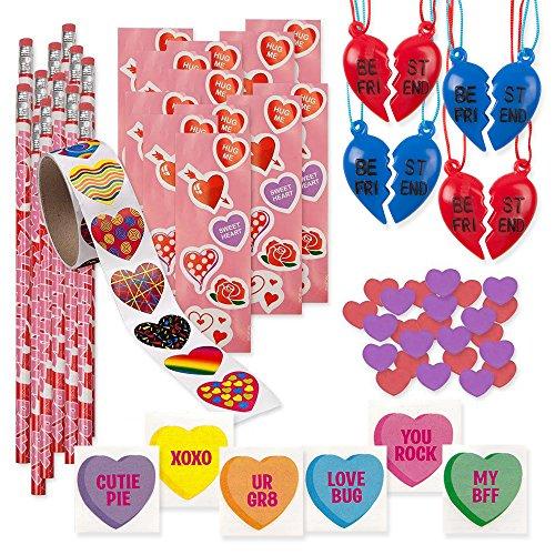 157 Piece Mega Valentine Toy Assortment 12 of 2 Piece Best Friend Necklaces 72 Valentine Heart Tattoo 12 Valentine Pencils 12 Valentine Sticker Sheets 48 Valentine Heart Erasers Heart Stickers