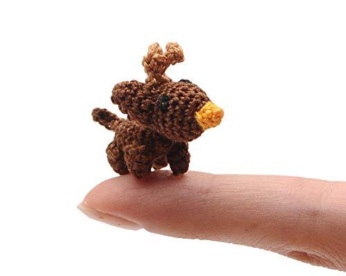 DaoOfThao Micro Tiny Miniature Reindeer Plush Toy Handmade Amigurumi Crochet Animal