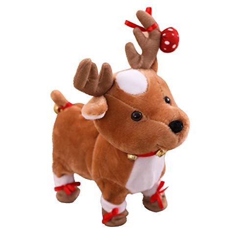 Jinjin Walking Dance Christmas Reindeer Electric Walking Cute Plush Reindeer Toy Develop Interest in Music for Kids Fun Playing Interactive Games AS Show