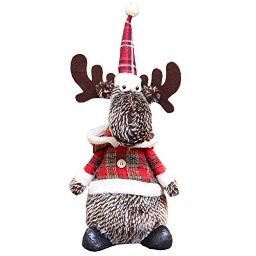 Juesi Reindeer Plush Toy Christmas Pet Stuffed Doll - Xams Elk Figure Xmas Party Tree Decor Ornaments Home Indoor Table Fireplace Shelf Window Sitter Figurine Decor A