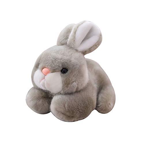 Valensha Simulation Crawling Rabbit Animal Plush Stuffed Doll Christmas Elves Reindeer Plush Toy Decorations Dolls for Christmas New Year Gift Grey 20cm