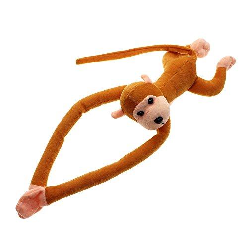 Soft Hanging Plush Monkey Gibbon Long Arm Tail Animals Toy Gift Curtains Holder - Brown