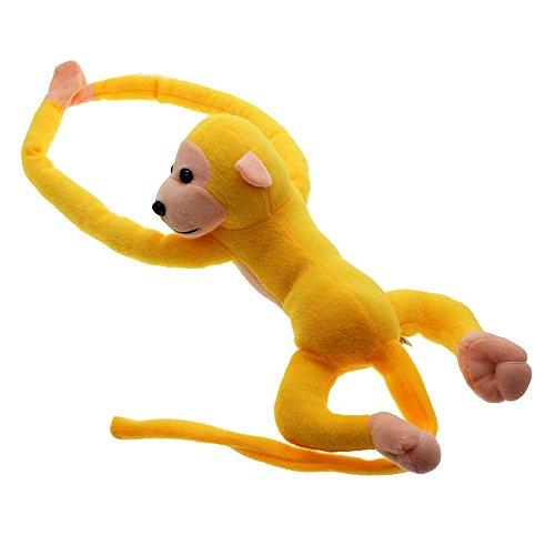 Soft Hanging Plush Monkey Gibbon Long Arm Tail Animals Toy Gift Curtains Holder - Yellow
