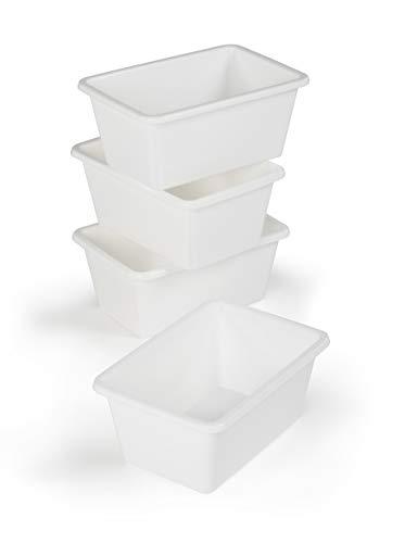 Tot Tutors Plastic Storage Bins Small Set of 4 White