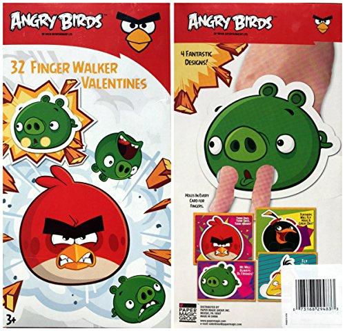 Angry Birds 32 Finger Walker Valentine Cards