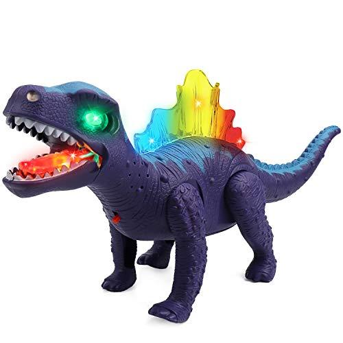 Jellydog Toy Walking Dinosaur Toys Led Light Up Walking Dinosaur Realistic Dinosaur with Sound Kids Dinosaur Toys for 3 Year Old Boy Blue