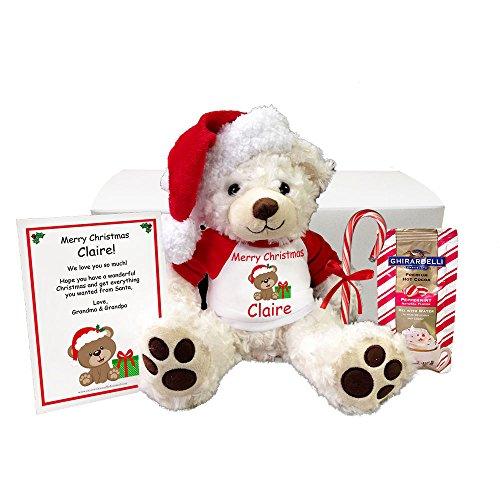Christmas Teddy Bear Personalized Gift Set- 14 White Vera Bear