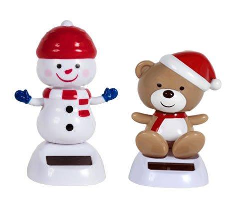 Solar Powered Dancing Christmas Teddy Bear and Snowman Set of 2
